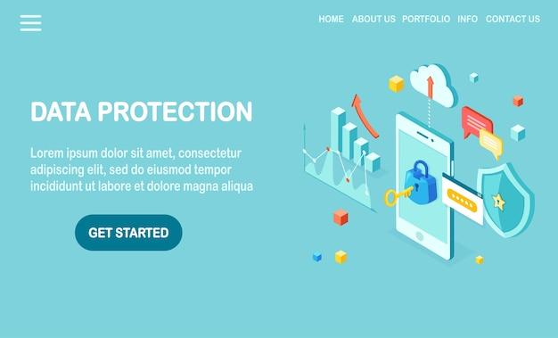 Protezione dati. sicurezza internet, accesso alla privacy con password. cellulare isometrico con chiave, serratura, scudo, nuvola, fumetto, smartphone, soldi, grafico, grafico.