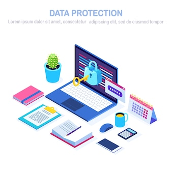 Protezione dati. sicurezza internet, accesso alla privacy con password. pc computer isometrico con chiave, serratura.