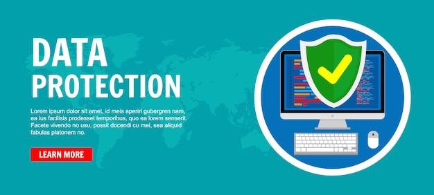 Protezione dei dati, banner di sicurezza di internet
