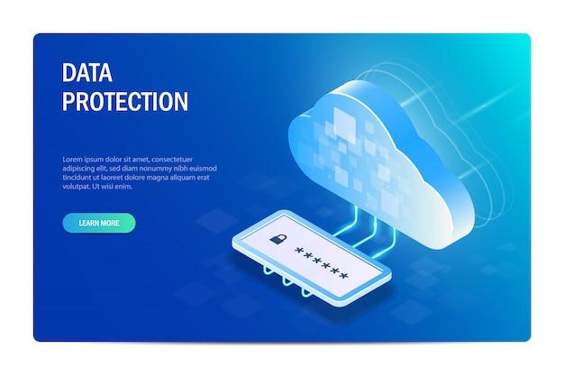 Protezione dei dati cloud con passord. accesso ai file dopo la verifica dell'identità