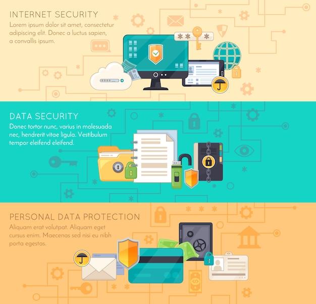 Protezione dei dati online 3 banner piatti