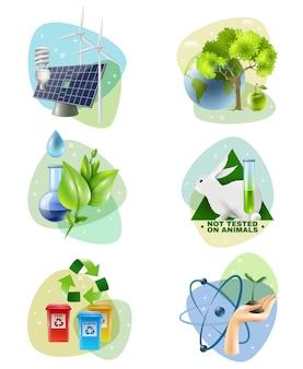 Protezione dell'ambiente 6 set di icone ecologiche