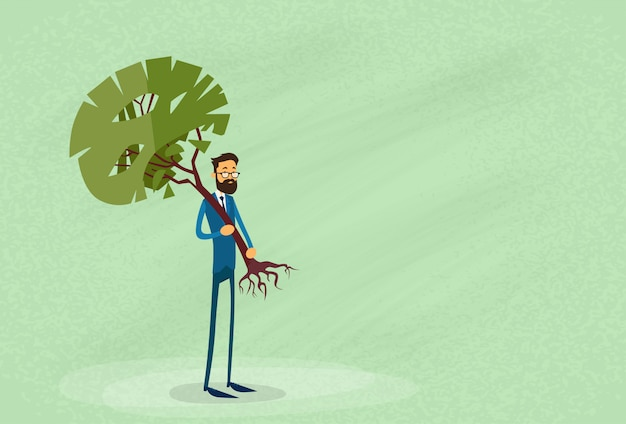 Protezione dell'ambiente di holding green tree dell'uomo d'affari
