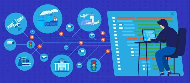 Protezione dell'illustrazione di tecnologia dell'informazione personale.