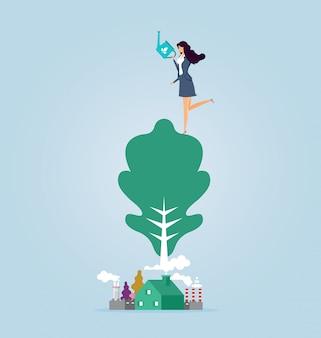 Protezione della donna d'affari e salvaguardia dell'ambiente