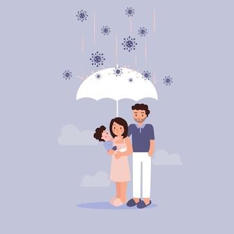 Protezione della famiglia dal concetto di virus corona. padre che utilizza l'ombrello per proteggere madre e figlio dal pericolo.