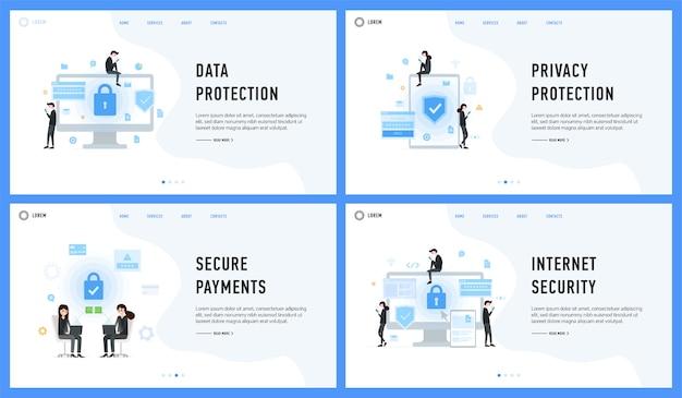 Protezione della privacy dei dati pagamenti sicuri e set di sicurezza internet