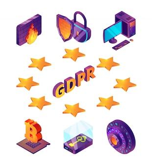 Protezione della privacy in internet 3d. gdpr protezione generale dei dati online wireless sicurezza connessione firewall antivirus isometrica
