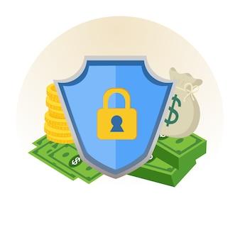 Protezione di sicurezza del denaro con il segno di scudo.