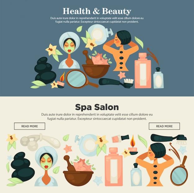Prove di salute e bellezza al banner promozionale del salone spa