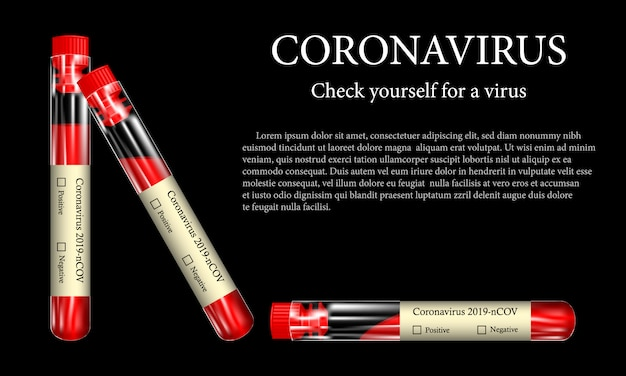 Provetta con campione di sangue per coronavirus (2019-ncov), il concetto di un risultato di analisi di laboratorio positivo o negativo per covid-2019, realistiche illustrazioni vetcorny