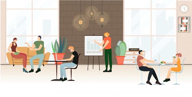 Pubblicità banner office life, cartoon flat