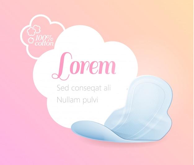 Pubblicità con soft pad femminile in cotone