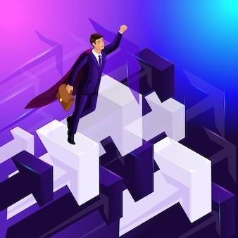 Pubblicità concetto isometria, uomo d'affari vola in alto, frecce rivolte verso l'alto, mostrando il movimento