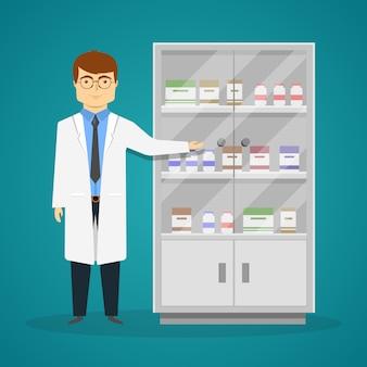 Pubblicità del design dei medicinali con giovane medico e gabinetto con farmaci
