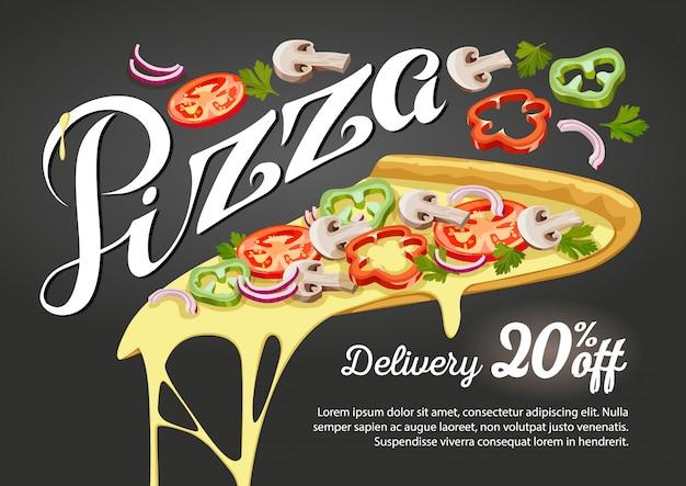 Pubblicità della fetta della pizza di attività di ristorazione.