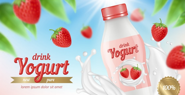Pubblicità dello yogurt. il cartello con il pacchetto del latte e della crema del jogurt alla frutta spruzza l'immagine sana di vettore dei dessert dell'alimento