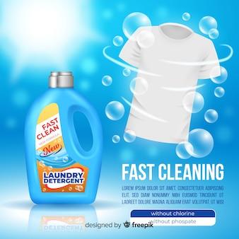 Pubblicità detergente con design realistico