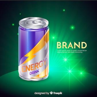 Pubblicità di bevande energetiche realistiche