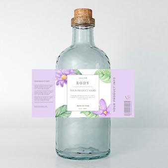 Pubblicità di bevande floreale etichetta di primavera