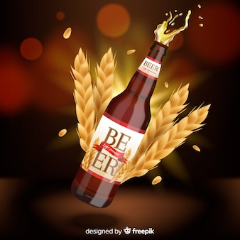 Pubblicità di birra su sfondo sfocato