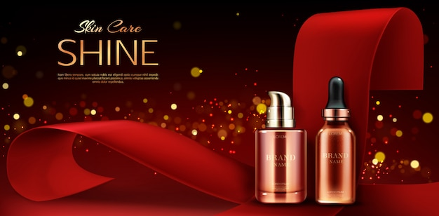 Pubblicità di flaconi per la cosmetica, linea di prodotti per la cura della pelle