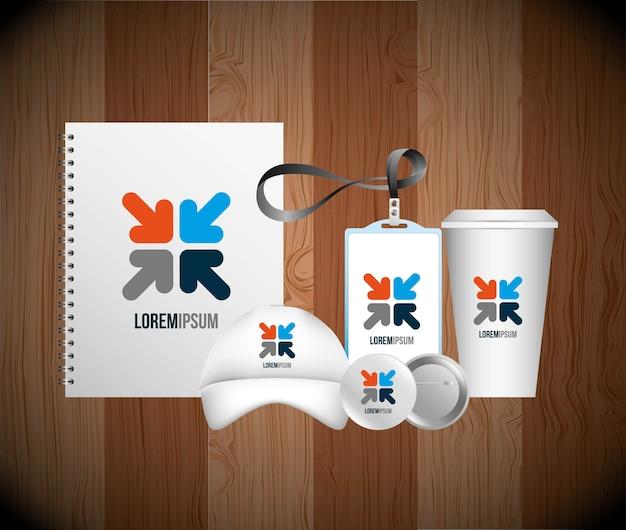 Pubblicità di identità aziendale branding business stationery