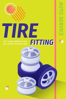 Pubblicità di pneumatici per auto professionali. illustrazione vettoriale 3d con testo modificabile