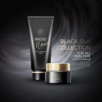 Pubblicità di prodotti cosmetici design su sfondo nero.