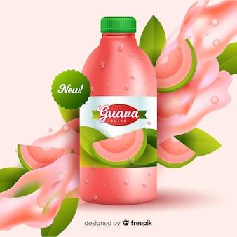 Pubblicità di succo di guava realistico