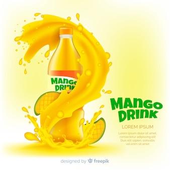Pubblicità di succo di mango realistico