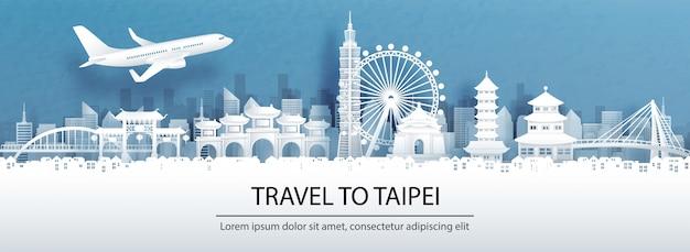 Pubblicità di viaggio con il viaggio al concetto di taipei con l'orizzonte della città di vista panoramica, punti di riferimento cina