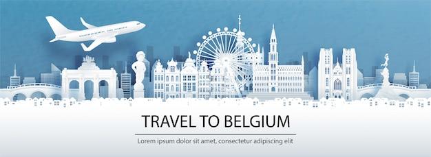 Pubblicità di viaggio con il viaggio in belgio concetto con vista panoramica sullo skyline della città
