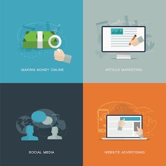 Pubblicità di web piatto e concetti di vettore di sviluppo di media sociali