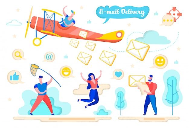 Pubblicità flyer consegna e-mail cartoon flat.