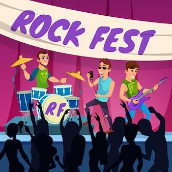 Pubblicità flyer performance rock fest cartoon.