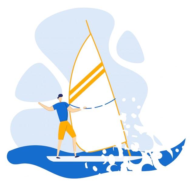 Pubblicità flyer yachting in estate al mare piatto.