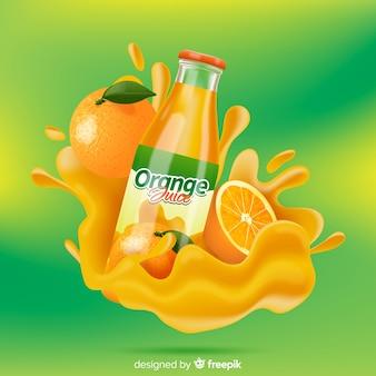 Pubblicità gustosa succo d'arancia