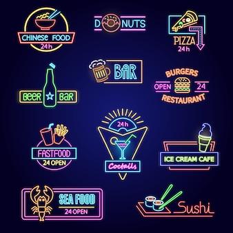 Pubblicità illuminata d'ardore di vettore al neon dell'alimento dell'insieme dell'illustrazione della barra o del ristorante della birra di pasto rapido
