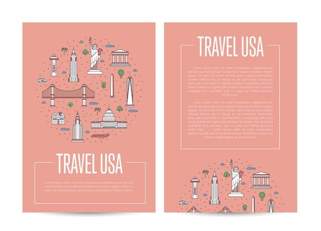Pubblicità in viaggio negli stati uniti in stile lineare