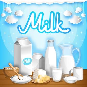 Pubblicità lattiero-casearia con prodotti lattiero-caseari
