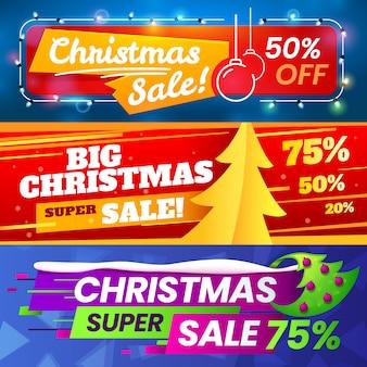 Pubblicità offerte di marketing natalizio, vendita vacanze invernali e banner speciali offerte stagionali