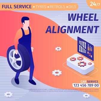 Pubblicità per allineamento ruote in banner design