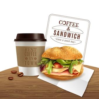 Pubblicità realistica degli alimenti a rapida preparazione del panino del caffè