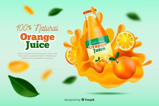 Pubblicità realistica di succo d'arancia naturale