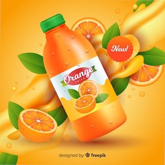 Pubblicità realistica di succo d'arancia