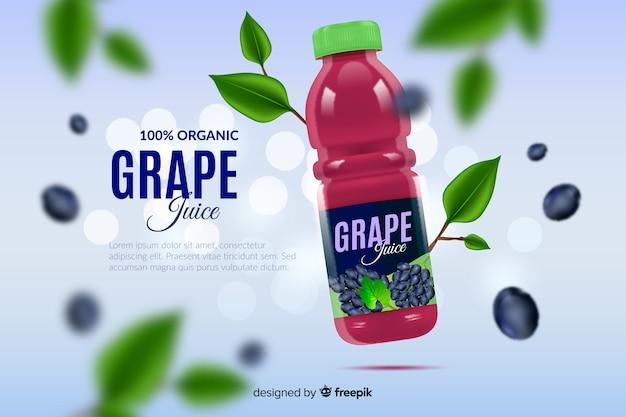Pubblicità realistica di succo d'uva naturale