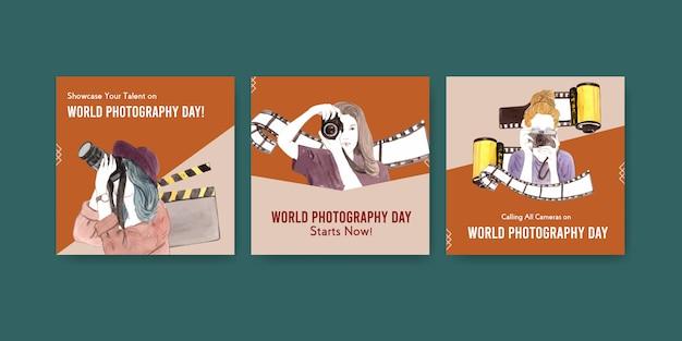 Pubblicizza il design del modello con la giornata mondiale della fotografia per opuscoli e brochure