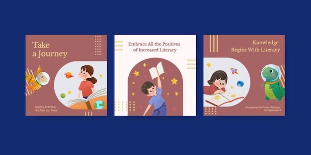 Pubblicizza il modello con il concept design della giornata internazionale dell'alfabetizzazione per il vettore dell'acquerello di marketing aziendale.