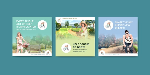 Pubblicizza il modello con il concept design della giornata mondiale senza auto per l'acquerello di marketing.